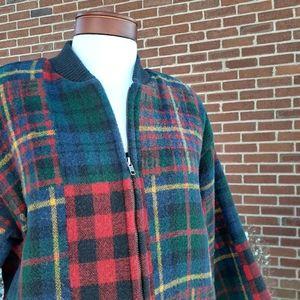 Woolrich Buffalo Plaid Wool Bomber Coat Christmas